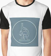 Stylized vector icon of microscope. Laboratory equipment symbol.  Graphic T-Shirt