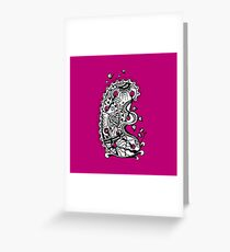 The Letter E Alphabet Aussie Tangle in Black and White Greeting Card