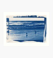 Hahei Beach Blueprint Art Print