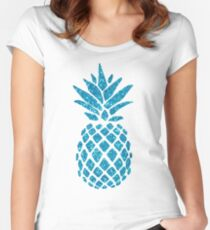 Blue Glitter Pineapple Women's Fitted Scoop T-Shirt