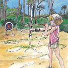 Girl Scout Archery in the Florida Camp Riverpoint Woods  by Wendy Crouch