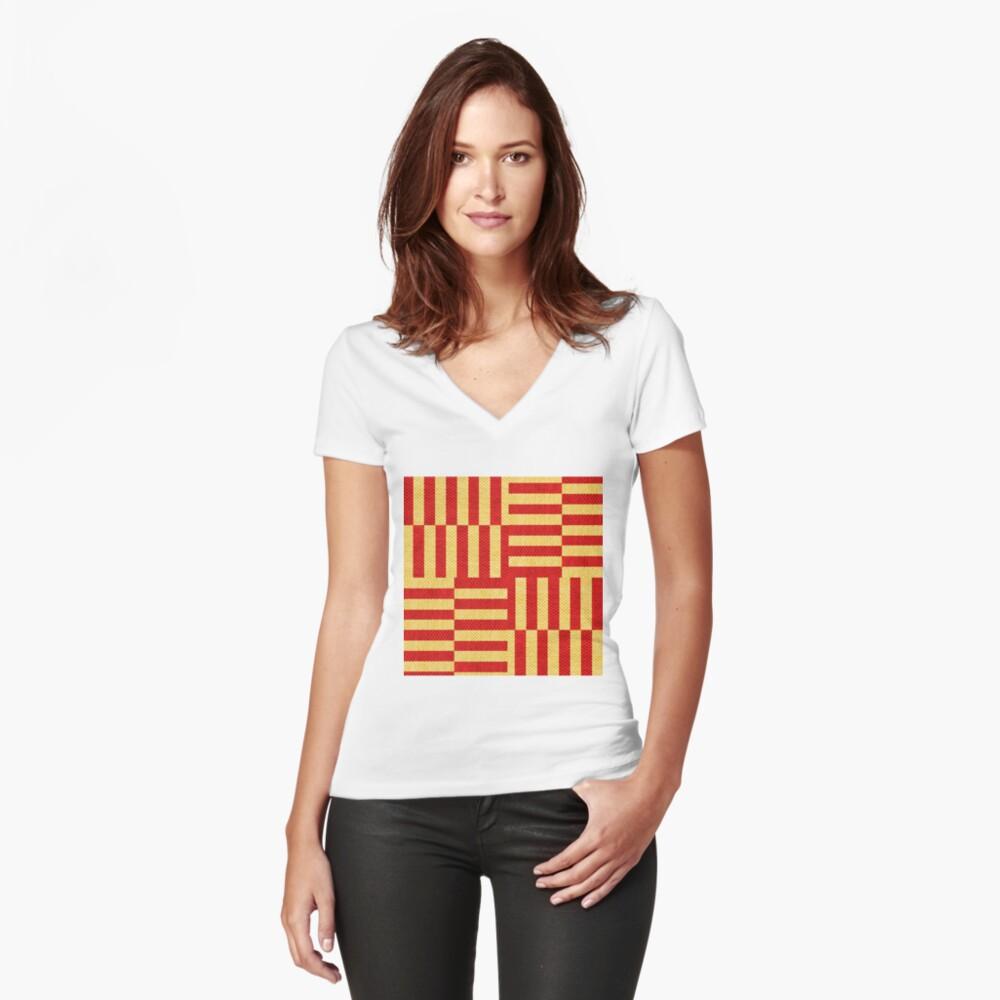 stripes pattern Fitted V-Neck T-Shirt