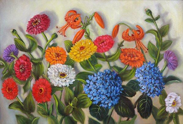 Zinnias, Tiger Lilies, Hydrangeas by Randy Burns