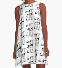 Black construction crane A-Line Dress