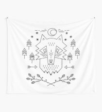 Line art. Wolf Wall Tapestry
