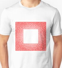 Red Labyrinth Isolated on White Background. Kids Maze T-Shirt