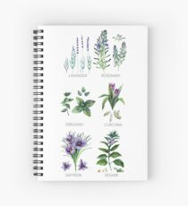 Watercolor botanical collection of herbs and spices Spiral Notebook