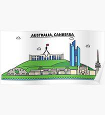 Australia, Canberra City Skyline Design Poster