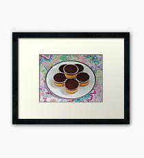 Chocolate Iced Sponge on Paisley Framed Print