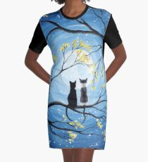 Cats Full Moon  Graphic T-Shirt Dress