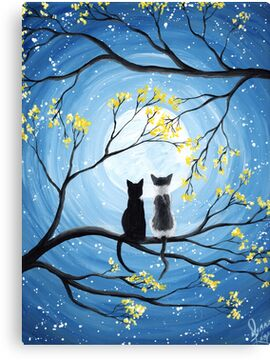 Cats Full Moon  Canvas Print