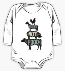 Friends Not Food - Vegan Vegetarian Animal Lovers T-Shirt - Vintage Distressed One Piece - Long Sleeve