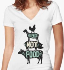Friends Not Food - Vegan Vegetarian Animal Lovers T-Shirt - Vintage Distressed Women's Fitted V-Neck T-Shirt