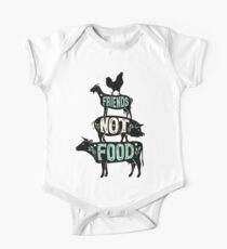 Body de manga corta para bebé Friends Not Food - Camiseta Vegan Vegetarian Animal Lovers - Vintage Distressed