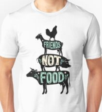 Friends Not Food - Vegan Vegetarian Animal Lovers T-Shirt - Vintage Distressed Unisex T-Shirt