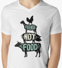 Friends Not Food - Vegan Vegetarian Animal Lovers T-Shirt - Vintage Distressed Men's V-Neck T-Shirt