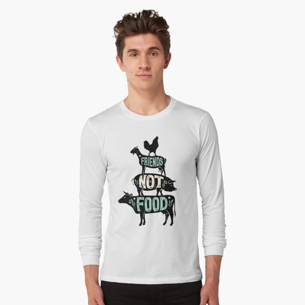 Friends Not Food - Vegan Vegetarian Animal Lovers T-Shirt - Vintage Distressed Long Sleeve T-Shirt