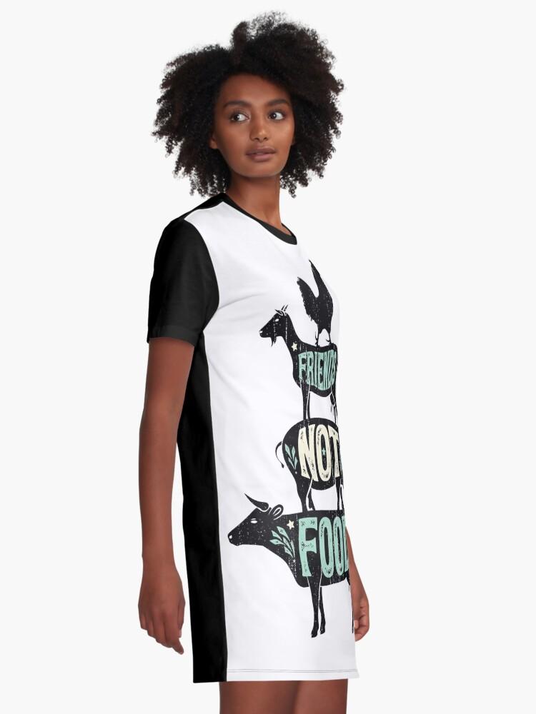 Alternate view of Friends Not Food - Vegan Vegetarian Animal Lovers T-Shirt - Vintage Distressed Graphic T-Shirt Dress
