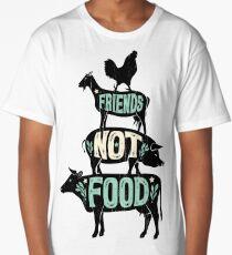 Friends Not Food - Vegan Vegetarian Animal Lovers T-Shirt - Vintage Distressed Long T-Shirt