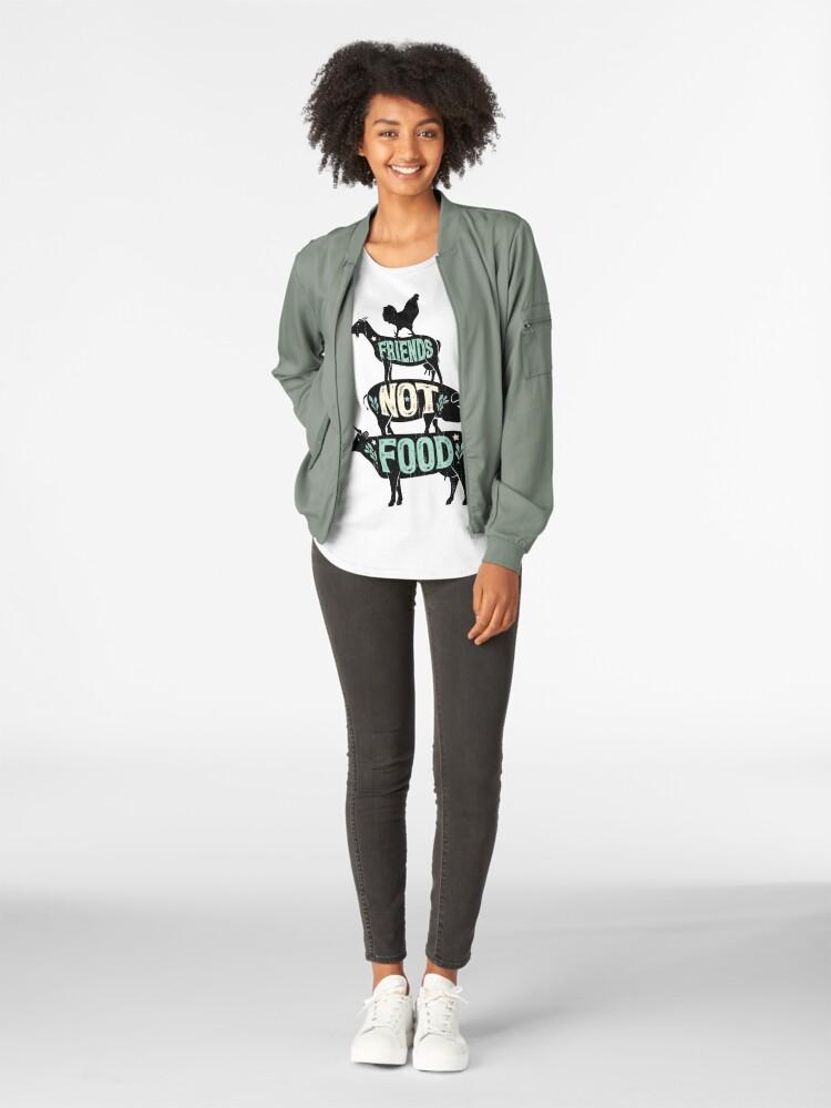 Alternate view of Friends Not Food - Vegan Vegetarian Animal Lovers T-Shirt - Vintage Distressed Premium Scoop T-Shirt
