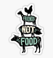 Friends Not Food - Vegan Vegetarian Animal Lovers T-Shirt - Vintage Distressed Sticker