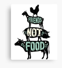 Friends Not Food - Vegan Vegetarian Animal Lovers T-Shirt - Vintage Distressed Canvas Print