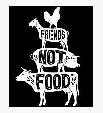 Friends Not Food - Vegan Vegetarian Animal Lovers T-Shirt - Vintage Distressed Photographic Print