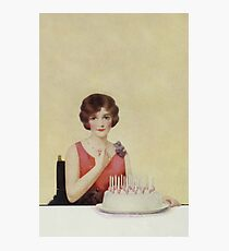 Birthday girl with cake and candles 074 Photographic Print