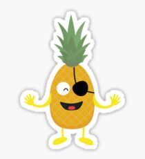 Pineapple Pirate with eye-patch R9ozq Sticker