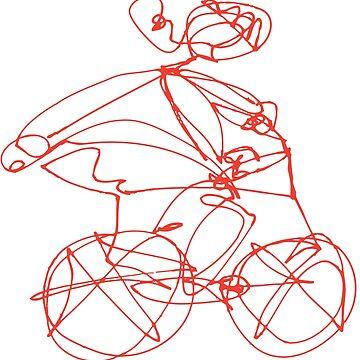 Open Road - Biking A Red by Landrigan