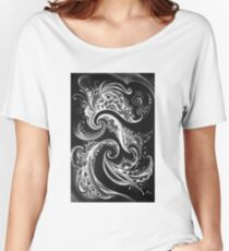 ilona ciunaite,black and white,linework, flow, floral, patterns,  Women's Relaxed Fit T-Shirt