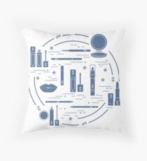 Vector illustration of different lip make-up tools arranged in a circle. Including icons of lipsticks, mirror, lip liner, lip gloss, lip.  Throw Pillow