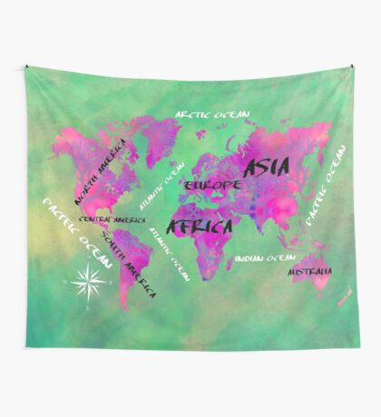 world map 121 green #map #worldmap Wall Tapestry