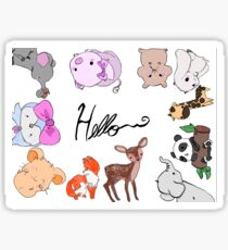 Cute Animal Greeting Card Design Sticker