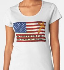 We Stand For The Flag... And Kneel For The Cross Women's Premium T-Shirt