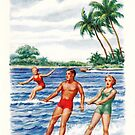 """Christmas Greetings From Florida"" Holiday Card with Water Skiing  by Framerkat"