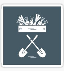 Cute vector illustration of harvest: two shovels, box of carrots and onion. Sticker