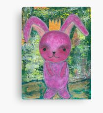 pink bunny princess with crown Canvas Print