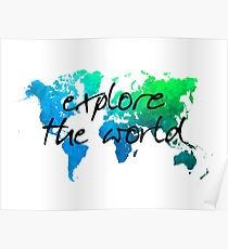 world map 124 explore the world #map #worldmap Poster