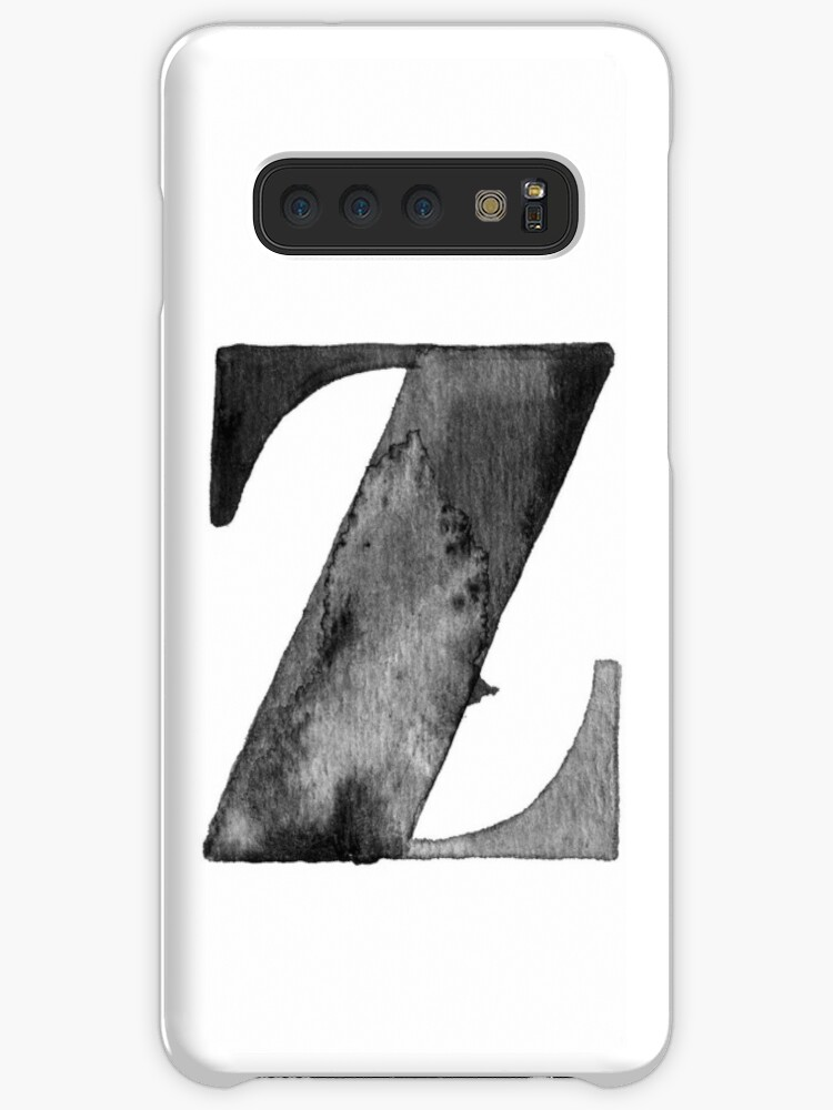 Z Letter Monogram Monochrome Alphabet Word Watercolor Black And White Grey Case Skin For Samsung Galaxy By Pinelemon