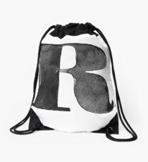 R Letter Monogram Monochrome Alphabet  Word Watercolor Black And White Grey Drawstring Bag