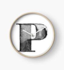 P Letter Monogram Monochrome Alphabet  Word Watercolor Black And White Grey Clock