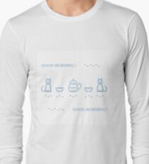 Cute vector illustration cross embroidery of teapot with two cups and two cats. T-Shirt