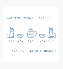 Cute vector illustration cross embroidery of teapot with two cups and two cats. Photographic Print