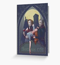 Two vampires in Georgian era costumes are celebrating Halloweeen filling glasses with blood of young beautifull lady. Concept art for Halloween poster. Greeting Card
