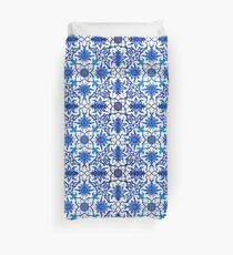 Art Nouveau Chinese Tile, Blue and White Duvet Cover
