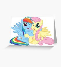 Rainbow Dash and Fluttershy hugging Greeting Card