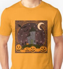 Haunted House with Pumpkins and Cobwebs T-Shirt