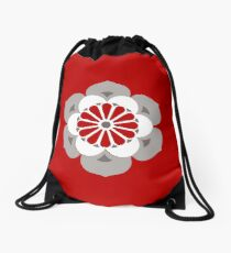 Lotus Mandala, Dark Red, Gray and White  Drawstring Bag