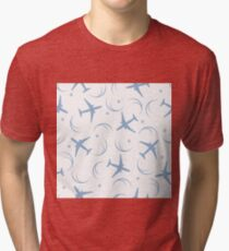 Cute seamless pattern with planes and traces of the plane. Tri-blend T-Shirt